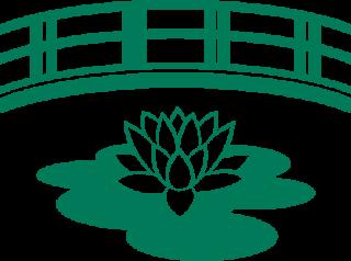 Logo de la maison de Monet représentant un nymphea devant un pont