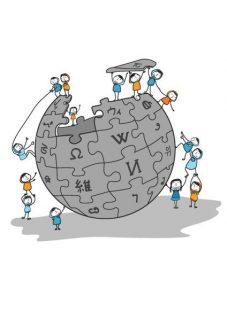 Dessin montrant le logo Wikipédia contruit par des petits personnages féminins