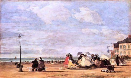 tableau Impératrice Eugénie sur le plage de Trouville par Eugène Boudin