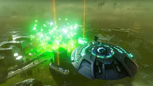 Une soucoupe volante lance un rayon vert.