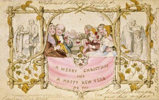 """Dessin d'un groupe de convives autour d'une table levant un verre de vin au-dessus d'une banderole où il est écrit """"A merry Christmas and a happy new year"""""""
