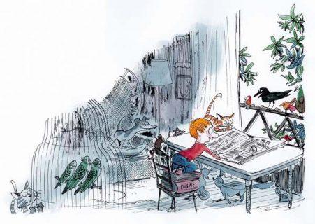 Dans un appartement rempli de meubles et d'animaux, face à une fenêtre, un petit garçon est monté sur une chaise et plusieurs livres superposés pour pouvoir lire le journal, ouvert en grand sur une table, sur lequel est écrit « Tata Thérèse ».