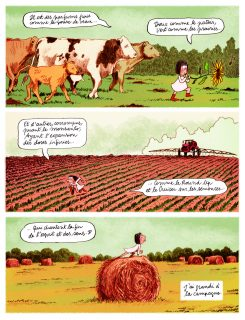 Planche de l'album Les Grands Espace ou l'auteur se représente petite fille au milieu des champs