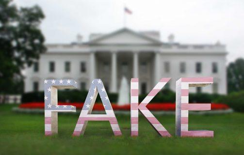 Le mot fake sur une vue de la Maison Blanche