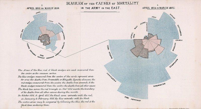 Diagrammes circulaires montrant les causes de mortalité au sein de l'armée britannique en Orient