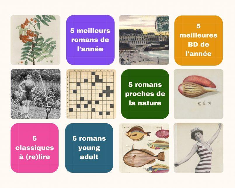 Images carrées anciennes issues de Gallica évoquant l'été et les vacances (plages, mots croisés, coquillages...)