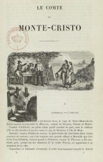 Première page illustrée du compte de Monte-Cristo, d'Alexandre Dumas sur Gallica