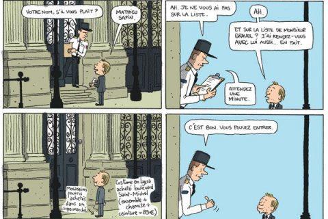 Planche extraite de la bande dessinée Le Château, une année dans les coulisses de l'Elysée de Mathieu Sapin