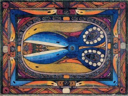 Peinture de Adolf Wölfli représentant des ciseaux