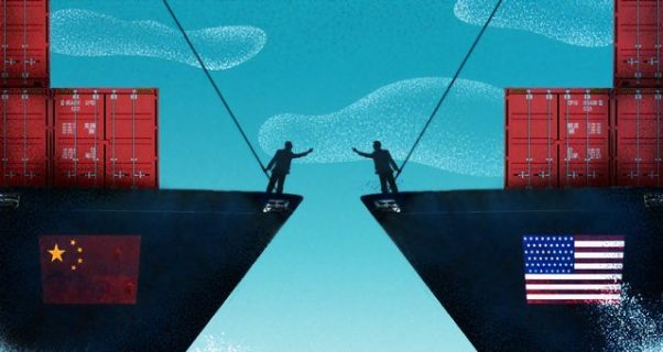 Illustration d'un bateau chinois face à un bateau américain