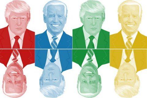 Portraits colorés de Donald Trump et Joe Biden