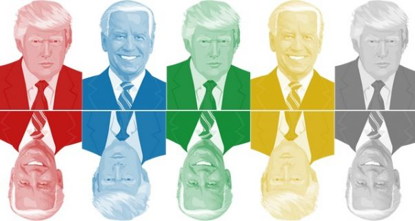 Portraits colorés de Donald Trump et Joe Biden